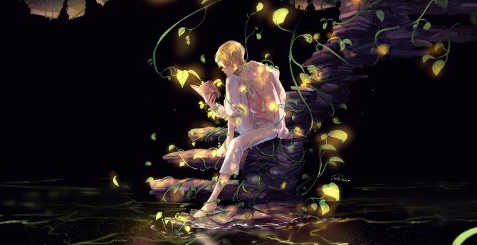 Desktop Wallpaper Anime Boy Read Book Art Hd Image