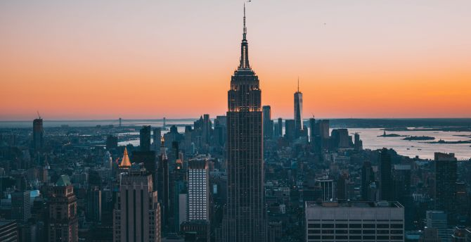 Empire state building sunset new york