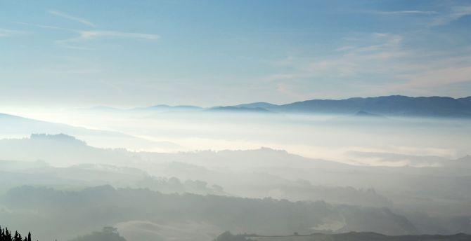 Landscape, dawn, sunrise, horizon, fog wallpaper