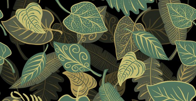 Digital art, green leaves, abstract wallpaper