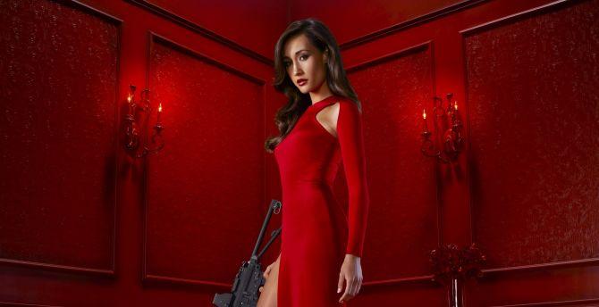 Nikita, red dress, Maggie Q, tv show, celebrity wallpaper