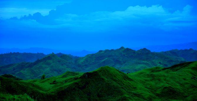 Blue sky, mountains, landscape, nature wallpaper