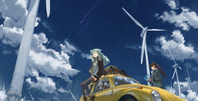 Hatsune miku, anime girls, outdoor, windmill, clouds, art wallpaper
