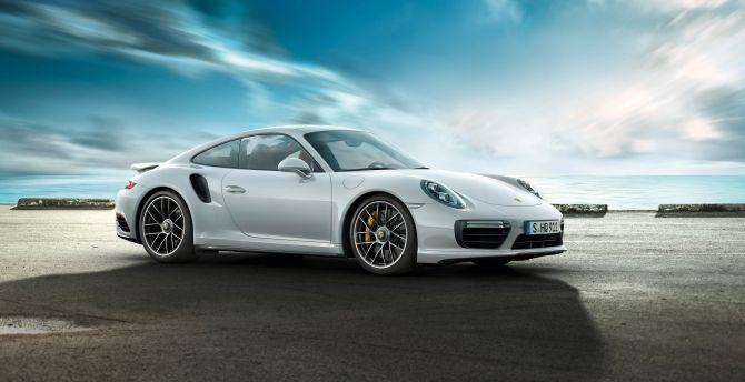 White Porsche 911 Turbo Side View