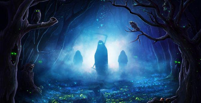 Desktop Wallpaper Halloween Silhouette Creepy Reapers