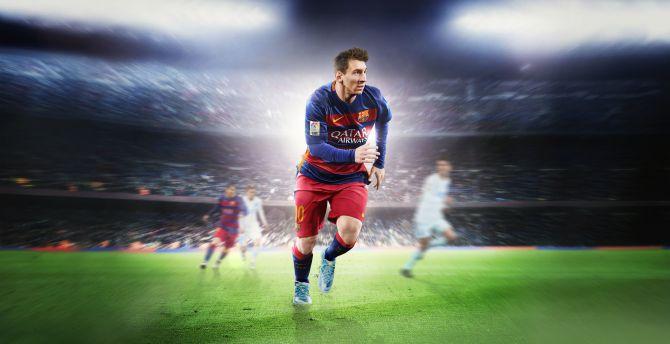Lionel Messi, Footballer, FIFA 16, EA sports, video game wallpaper