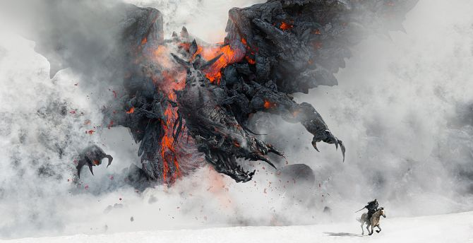Dragon, smoke, warrior, art wallpaper