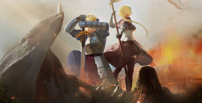 Desktop Wallpaper Fate Grand Order Battlefield Anime Girls Saber Alter And Ruler Hd Image Picture Background 1fc515