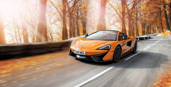 Orange, McLaren 570s, sports car, on-road wallpaper