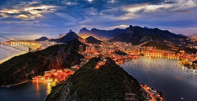 Rio de Janeiro, night, city, mountains, aerial view wallpaper