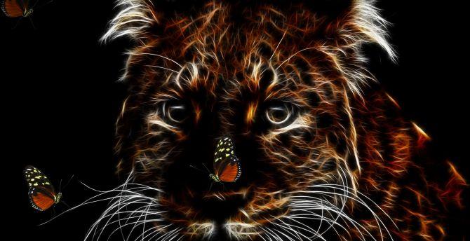 Tiger, muzzle, art, minimal wallpaper