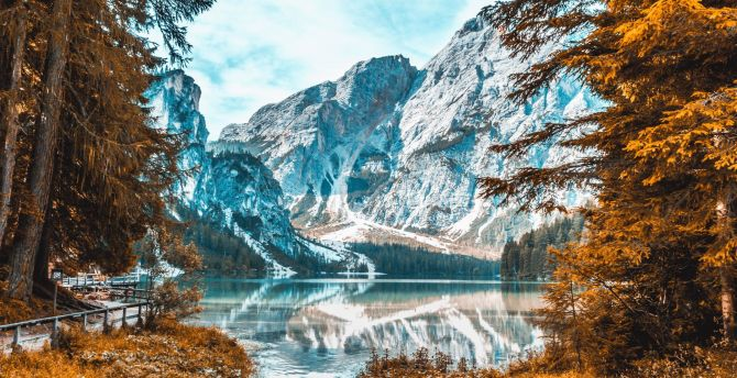 Desktop Wallpaper Snow Capped Mountain Autumn Lake Nature