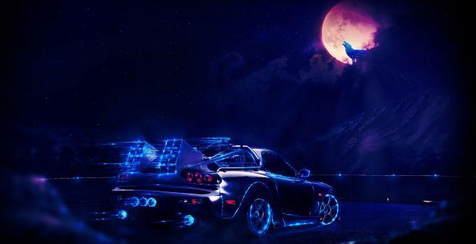 Mazda RX-7, car, dark, Back to the Future, movie, art wallpaper