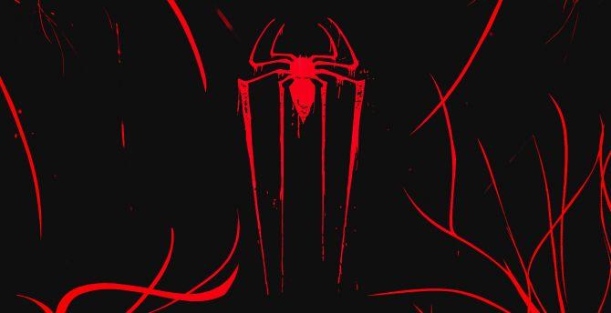 Desktop Wallpaper Logo Minimal Spider Man Dark Hd Image