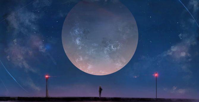 Big moon anime girl outdoor