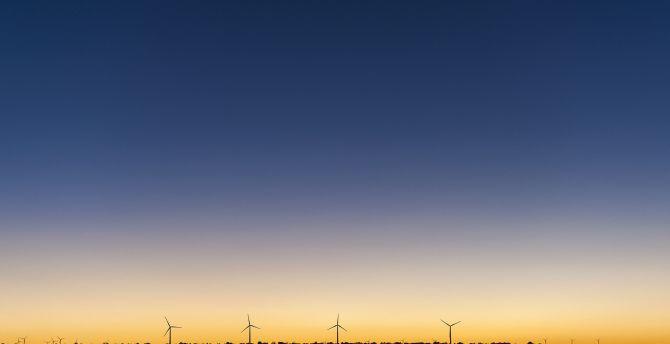 Sunset, windmills, clean skyline, minimal wallpaper