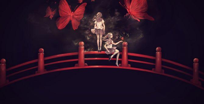 Bridge Anime Girls Minimal Butterfly Wallpaper