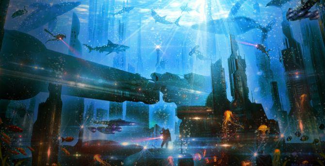 Desktop Wallpaper Underwater City Atlantis Hd Image