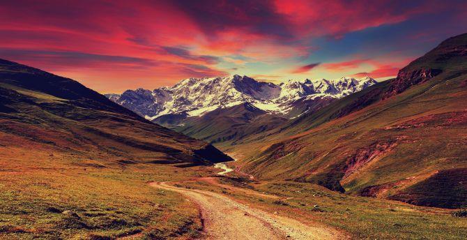 Mountains, sunset, landscape wallpaper