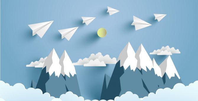 Paper plane, mountains, digital art wallpaper