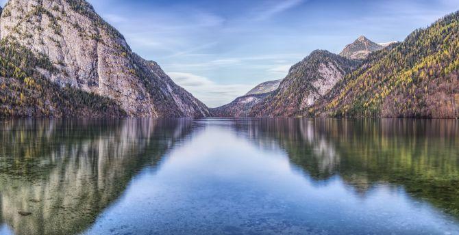 Mountains, lake, reflections wallpaper