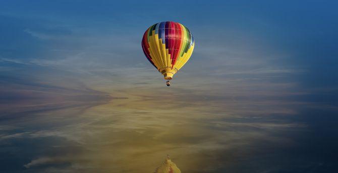 Fantasy, hot air balloon, sky, lake, reflections wallpaper