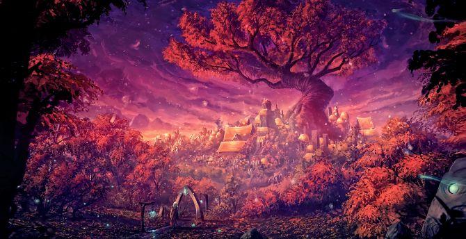 Desktop Wallpaper Fantasy Dreamy Forest Painting Art Hd