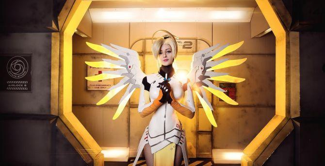 Overwatch, online game, mercy, cosplay, girl model wallpaper