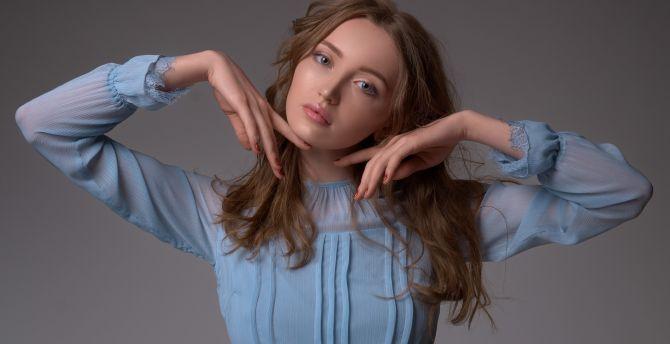 Blue dress, beautiful, model, portrait wallpaper