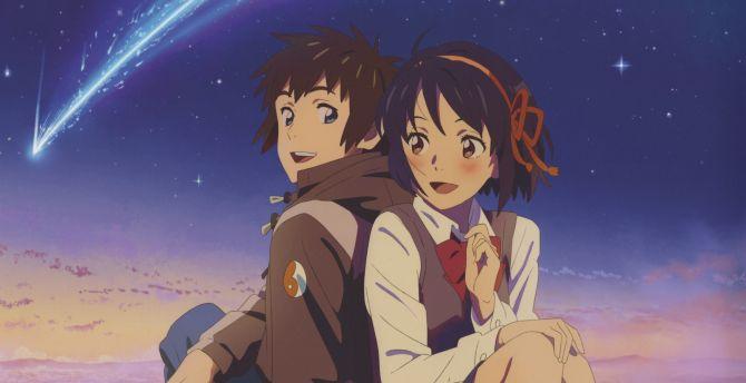 Desktop wallpaper cute couple, mitsuha miyamizu, taki ...