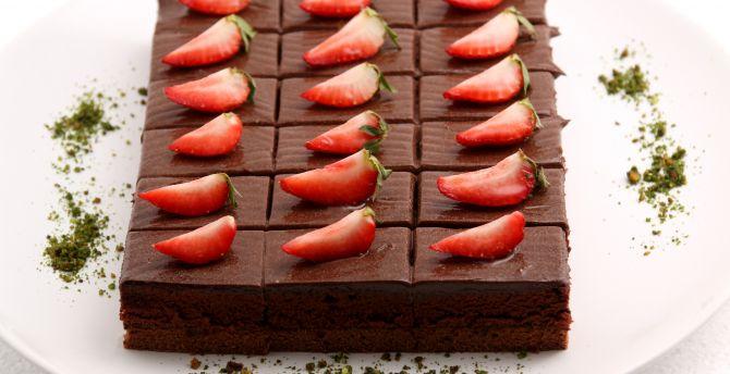 Brownie, fruits, cake, strawberry, dessert wallpaper