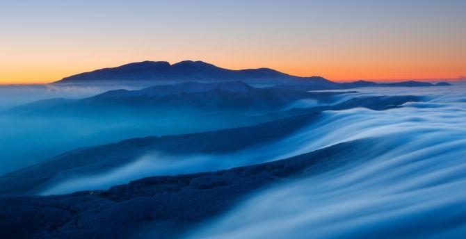 Amazing Wallpaper Mountain Fog - sunset-mountains-fog-horizon-landscape  You Should Have_833538.jpg