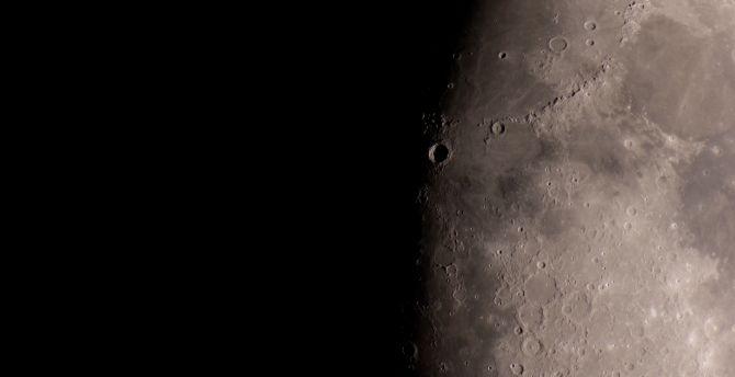Half moon, surface, planet wallpaper