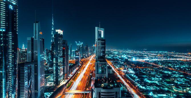 desktop wallpaper dubai, city, buildings, cityscape, night, hd image