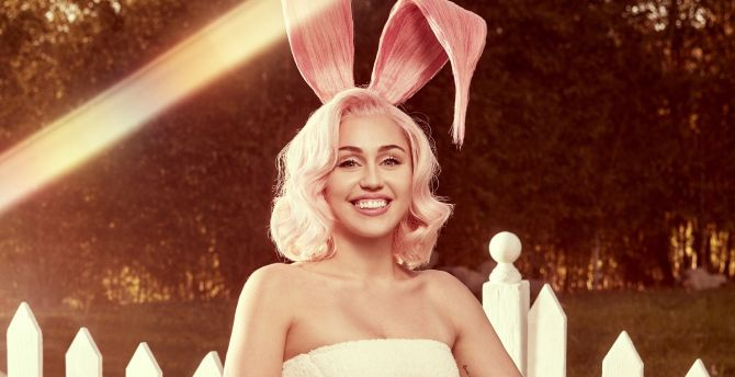Miley Cyrus, easter, smile, photoshoot, 2018 wallpaper