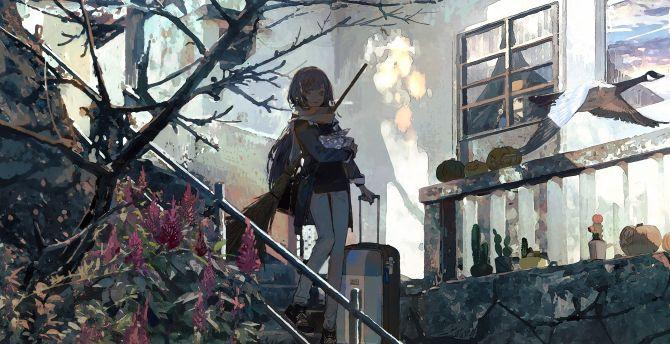 Stair, walk, anime girl, original, art wallpaper
