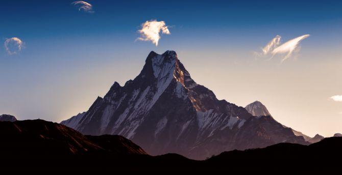 Dawn, sky, himalaya, mountains, peak wallpaper
