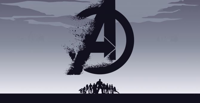 Desktop wallpaper 2019 movie avengers endgame minimal silhouette art hd image picture - 1366x768 is 720p or 1080p ...