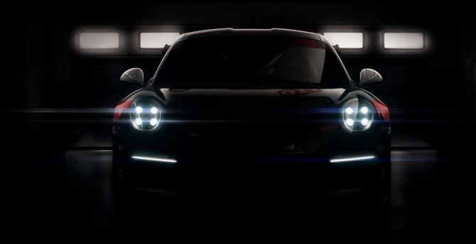 Desktop Wallpaper Headlight Dark Porsche 911 Gt3 R Car Hd Image Picture Background 3bafee