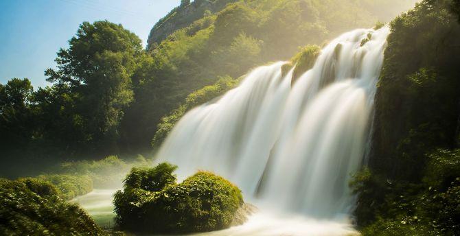 Waterfall, river, summer, nature wallpaper