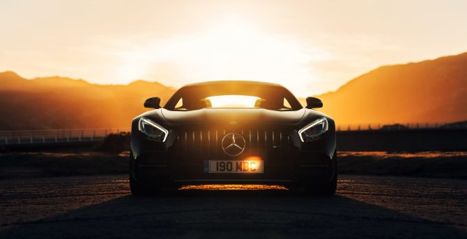 Mercedes-AMG GT C, Black, sunset wallpaper