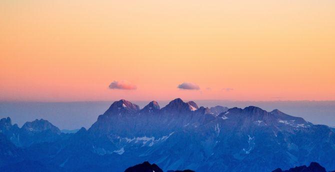Mountains fog sky sunset
