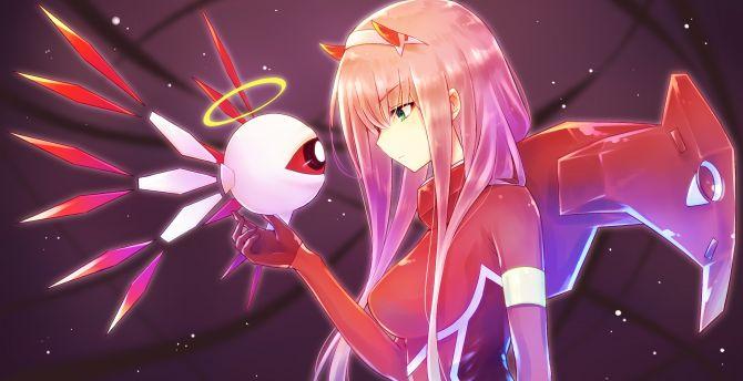 Desktop Wallpaper Anime Girl Robot Zero Two Long Hair Hd Image