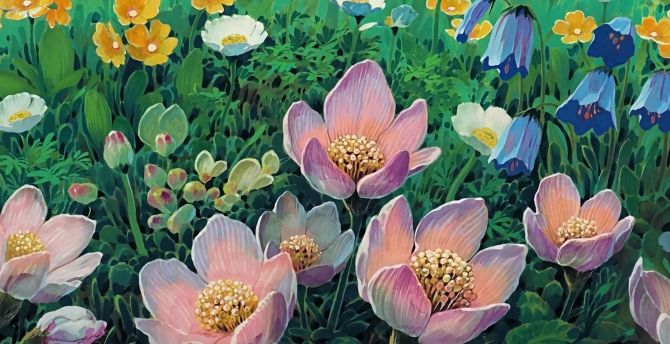 Flowers, meadow, art wallpaper