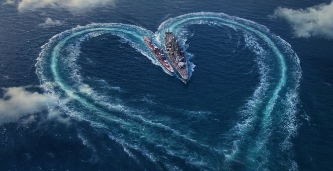 Love, heart, World of Warships, valentines day wallpaper
