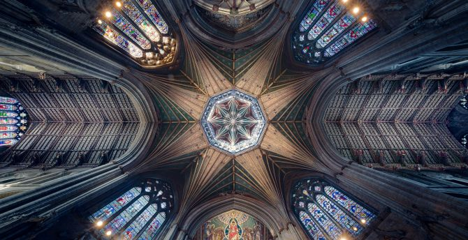 Ceiling, cathedral, symmetrical interior, architecture wallpaper