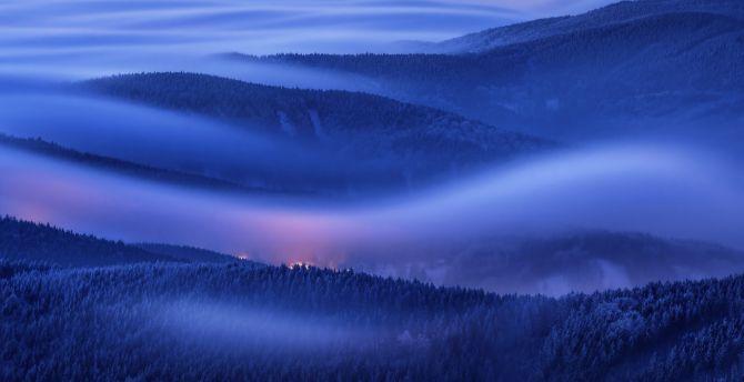Mountains, foggy morning, sunrise, horizon, Huawei Mate 10, stock wallpaper