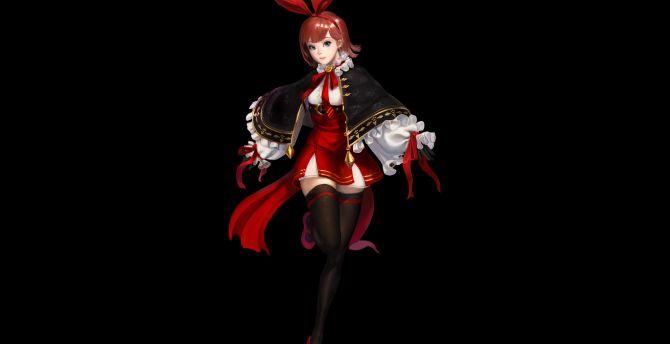 Minimal original anime girl red dress