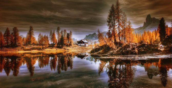 Dolomites, lake, reflections, house, nature wallpaper