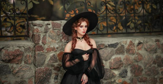 Red head, pony tails, black dress, outdoor wallpaper